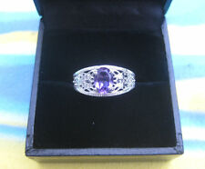 AMETHYST RING WITH DIAMONDS -10 CARAT WHITE GOLD - AS NEW