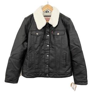 Levi's Classic Faux Leather Trucker Jacket Sherpa Lining Zip Button Black XXL 2X