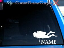 Scuba Diver PERSONALIZE Vinyl Decal Sticker -Color- HIGH QUALITY