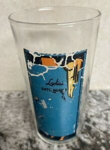 Vintage 1940's PEEK-A-BOO Naughty BAR GLASS PIN UP~RISQUE Reverse Nude
