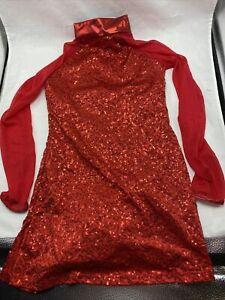 Balera Sequin Performance Jazz Dance Tunic Dress Red Nylon Spandex Poly Adult S