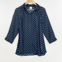 Cabi Button Front Small Blouse Blue Green Polka Dot 3/4 Sleeve Sheer Womens