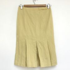 Cue Skirt Size 6 Womens Yellow Pleated Godet Bow Zipper Cotton