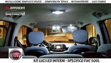 "KIT LUCI LED COMPLETO INTERNI BIANCO GHIACCIO FULL PACK X ""FIAT 500L"" NO ERRORI!"