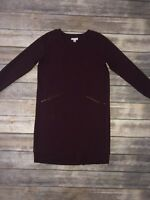 J Jill Women's Burgundy Sweater Dress Tunic Long Sleeve Size XS Shift Pockets