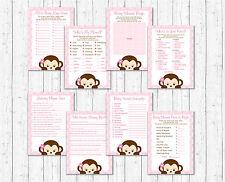 Girl Pop Monkey Pink Baby Shower Games Pack - 8 Printable Games