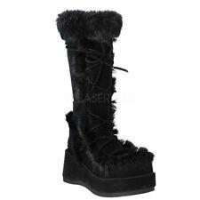 """*Demonia 2.75"""" Black Platform Suede & Fur Fuzzy Knee/Calf Boots Gothic Goth 11"""