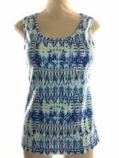 Zenergy by Chicos Womens Tank Top Size 2 Large Blue Sleeveless Geo Print Sequin