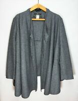 By MALENE BIRGER Draped Front Long Sleeve Wool Blend Gray Wrap Over Jacket Coat