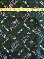 "Utah Jazz Green 100% Cotton Fabric - Sold By 1/2 Yard 18"" x 46"""