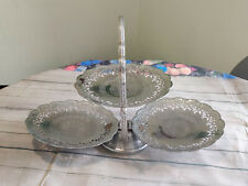 Vintage Silver 3 Tier Folding Cake Stand Cupcake Sandwich Afternoon Tea Display