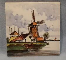VINTAGE HAND-PAINTED, MULTI-COLORED, DELFT TILE---WINDMILL and KEEPERS FARMHOUSE