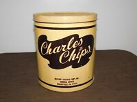 "VINTAGE KITCHEN 9"" HIGH CHARLES CHIPS BBQ POTATO CHIPS TIN CAN  *EMPTY*"