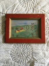 Outsider FOLK ART Pencil Drawing with Watercolor 1800's Children Playing Signed