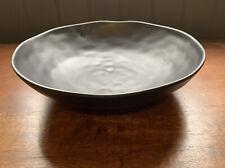 Large Metallic Grey Stoneware Bowl Ornament Home Decor