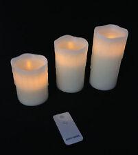 3er Set LED cire véritable Bougies,crème blanc,Télécommande,Bougie en cire,