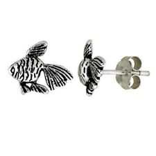 Sterling Silver Tiny Fish Stud Earrings