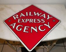 "VINTAGE RED PORCELAIN ENAMEL RAILWAY EXPRESS AGENCY DIAMOND SHAPE SIGN 12"" x 12"""