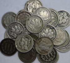 1865-1881 3CN Three Cent Nickels Good Or Better Dates As They Come