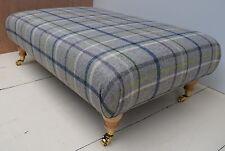 New Large Footstool / Table- 'Multicheck / Mid Grey' Wool MOON Tartan Fabric!!!