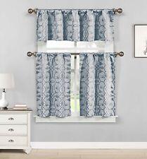 Blue 3 Piece Jacquard Window Curtain Set: Botanical Design, 2 Tiers, 1 Valance