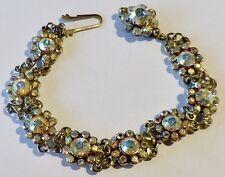 Ancien bracelet bijou vintage couleur argent maillon cristaux boréalis  2162