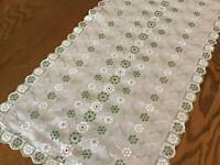 """Vintage Dresser Cover  Embroidered Green Daisy Eyelet Scalloped 33"""" X 14"""""""