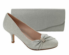 Mujeres Plata Brillo Novia Boda Noche Tribunal Zapatos De Las Señoras UK Size 3-8