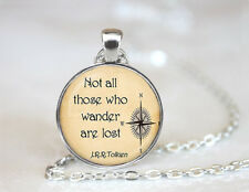 Not all those who wander are lost Tibetan silver Glass Chain Pendant Necklace