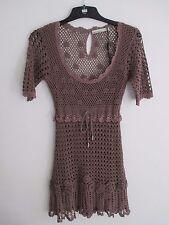 Karen Millen ladies brown crochet style dress size 2 (UK 6)