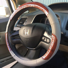 UAA® BURL WOOD TRIM Gray PU Leather Steering Wheel Cover Universal-fit auto