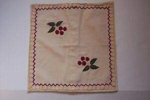 April Cornell Throw Pillow Cover Cherries Blanket Stitch