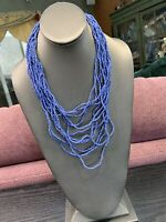 Women's Ladies Necklace Seed bead Bohemian multi strand Multi Color Blue 20""