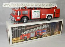 "1986 Hess Toy Aerial Ladder Fire Truck Bank 14"" Long Mint-Mint With Box & Liner"