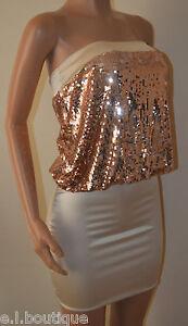 VICKY MARTIN sexy gold ivory strapless sequin satin bodycon mini dress BNWT 8 10