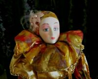 """Vintage Mime Porcelain Doll Floral  Design Outfit 16"""" Tall with Doll Stand"""