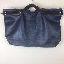 New Women's Navy Blue & Brown Genuine Leather Bag Purse Handbag Computer Bag