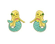 Fantasy Mermaid gold plated studs earrings enamel kitsch cute fun gift idea