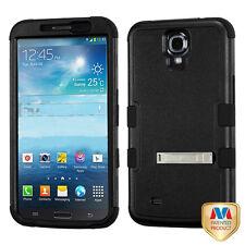 Natural Black Black TUFF Hybrid Phone Cover with Stand SAMSUNG i527 Galaxy Mega