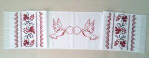 Ukrainian embroidered towel with wedding doves, rushnyk, handmade