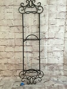 Twisted Wrought Iron Brown Vertical Wall Mounted Plate Picture Book Display Rack