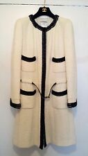 Authentic CHANEL Ivory Black Trim Boucle Tweed Coat Patent belt 42 Collector NT