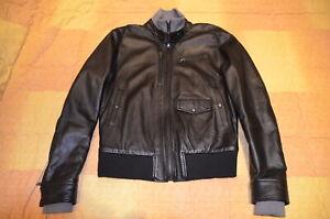 Giubbotto biker in pelle tg 46 S stile schott perfecto 36 harley leather 38 nero