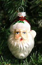 HAND BLOWN MERCURY STYLE GLASS SANTA HAND PAINTED & DECORATED CHRISTMAS ORNAMENT