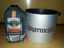 Jagermeister Metal Ice Bucket & Jager 750ml Football Zippered Bottle Koozie