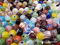 30 Assorted Millefiori Round Glass Beads 8mm (DF8001)