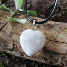 WHITE HOWLITE Crystal Heart CALMING ~ ANGER ~ STRESS Gemstone Pendant Necklace