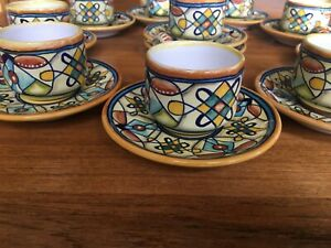 Set of 10 Demitasse Cups & Saucer Franco Mari Deruta Tuscan Italy Hand Painted