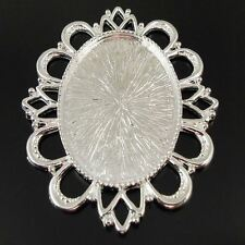 6pcs Silver Oval Cameo Setting Cabochon Tray Pandent Inner Size40*30mm 37493