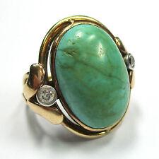 7 - Antiker Ring - Gold 585 - Türkis - Altschliff Diamanten - 1569/63